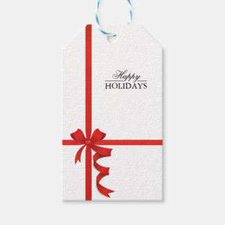Happy Holidays Red Ribbon Gift Tags