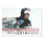 Happy Holidays, red snowflake modern photo 13 Cm X 18 Cm Invitation Card