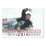 Happy Holidays, red snowflake modern photo Invites