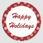 Happy Holidays Red Snowflake Pattern Stickers