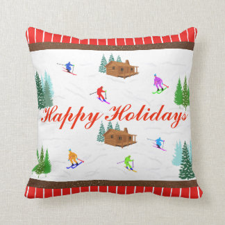 Happy Holidays | Red Striped Ski Cabin Pillow