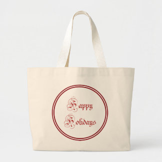Happy Holidays Red Text Tote Bags