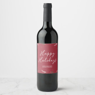 Happy Holidays Red Trendy Christmas Wine Label