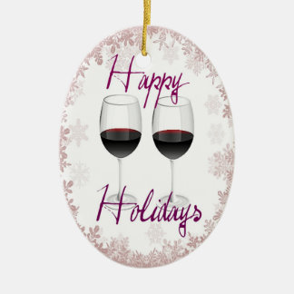 """""""HAPPY HOLIDAYS"""" RED WINE AND SNOWFLAKE PRINT CHRISTMAS ORNAMENT"""