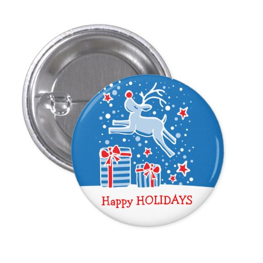 Happy Holidays reindeer christmas button/badge