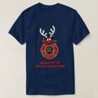 Happy Holidays Reindeer St. Louis Fire Department T-Shirt