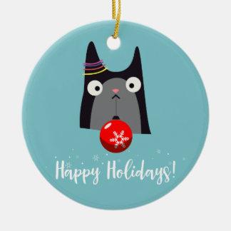 Happy Holidays! Round Ceramic Decoration