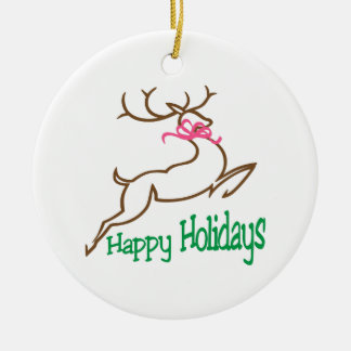 Happy Holidays Round Ceramic Decoration