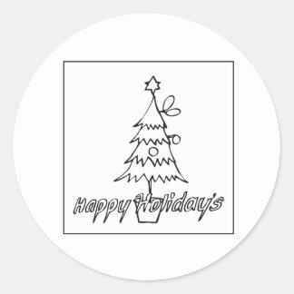 Happy Holidays Round Sticker