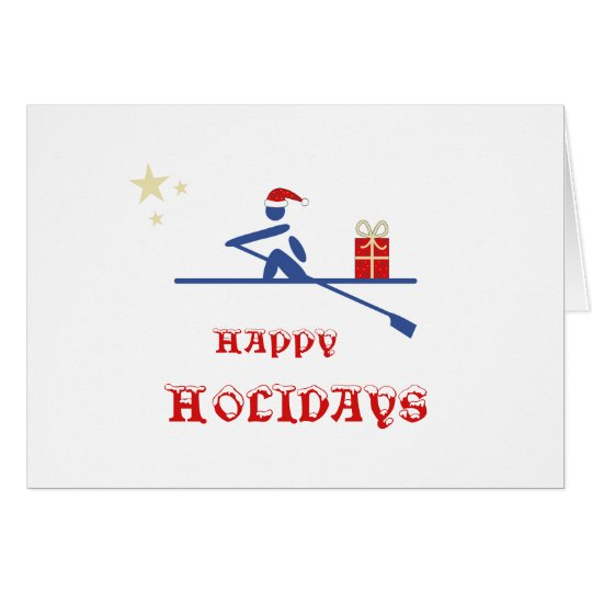 Happy holidays rower bringing gift card