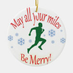 Happy Holidays Runners! Double-Sided Ceramic Round Christmas Ornament
