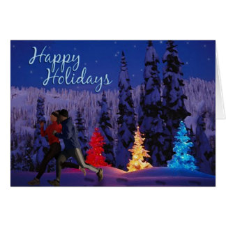 Happy Holidays – Running Couple Greeting Card