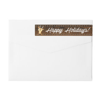 Happy Holidays Rustic Christmas Return Address Wrap Around Label