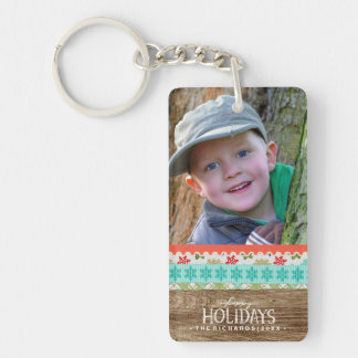 Happy Holidays Rustic Wood Fun Christmas Photo Key Ring