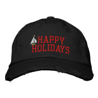 Happy Holidays Sailboat Embroidered Hat