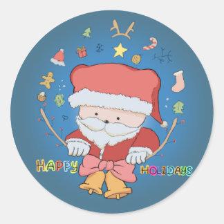 Happy Holidays Santa Bear Classic Round Sticker