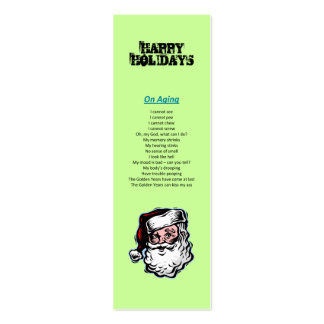 Happy Holidays Santa Christmas Bookmark Pack Of Skinny Business Cards