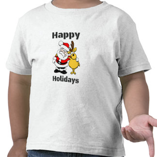 Happy Holidays Santa Claus Reindeer Hug T-shirt
