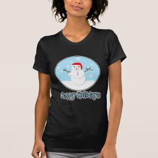 Happy Holidays Santa Snowman Tee Shirts