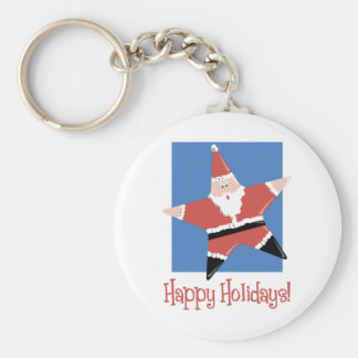 Happy Holidays Santa Star Tees and Gifts Basic Round Button Key Ring