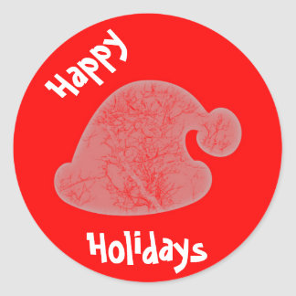 Happy Holidays Santa's hat round red sticker/seal Classic Round Sticker