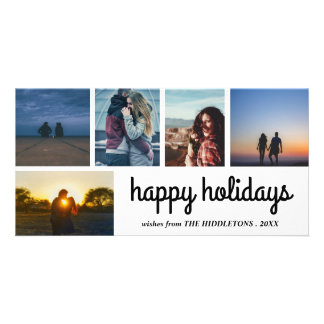Happy Holidays Script Five Photo Collage Card