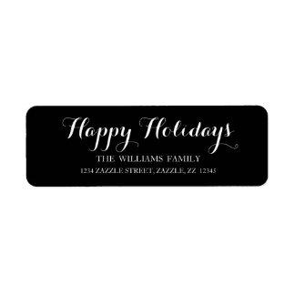 HAPPY HOLIDAYS Script Modern Christmas Address