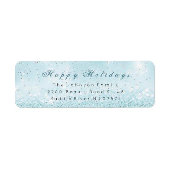 Happy Holidays Silver Confetti Blue Pastel Glitter