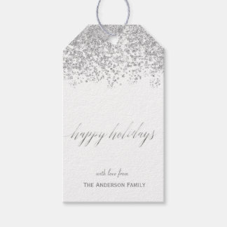 Happy Holidays silver glitter gift tags
