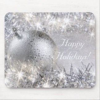 """Happy Holidays"" Silver Mousepad"