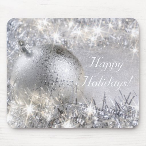 """""""Happy Holidays"""" Silver Mousepad"""