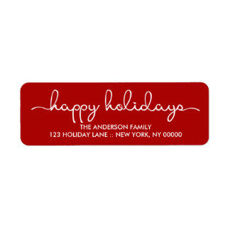 Happy Holidays Simple Red Hand Lettered Label Return Address Label