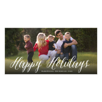 Happy Holidays Simple Script Photo Holiday Card Personalised Photo Card