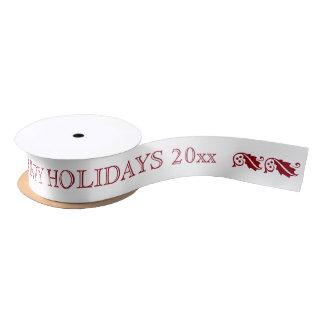 Happy Holidays Simple Text Message Ribbon Satin Ribbon