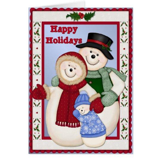 Happy Holidays Snow Family Card