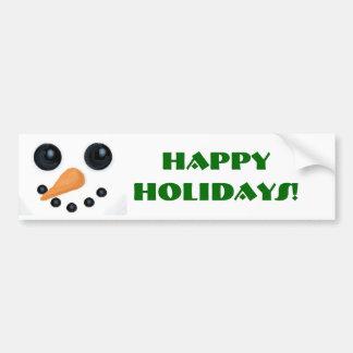 Happy Holidays Snow Man Bumper Sticker