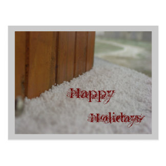 Happy  Holidays snow on a windows ill Postcard