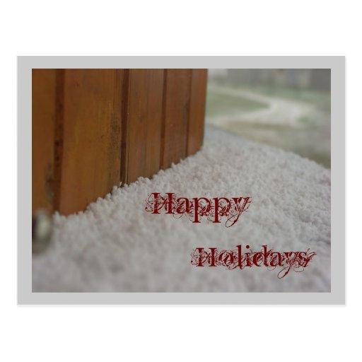 Happy  Holidays snow on a windows ill Post Card