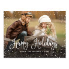 Happy Holidays Snow Postcard