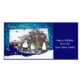 Happy Holidays Snow Scene Photo Greeting Card