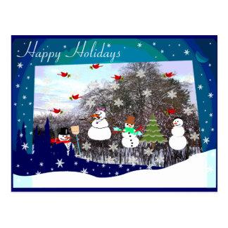 Happy Holidays Snow Scene Postcard