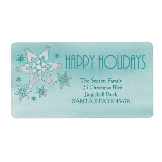 Happy Holidays snowflake Holiday Address Label