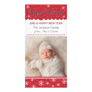 Happy Holidays Snowflake Red Photo Card