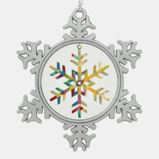 Happy Holidays Snowflake Shape With Triangle Snowflake Pewter Christmas Ornament
