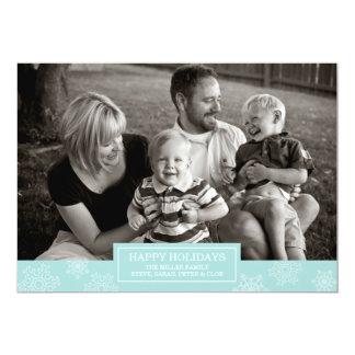 Happy Holidays Snowflakes Card | Flat | Blue 13 Cm X 18 Cm Invitation Card