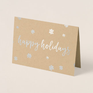 Happy Holidays Snowflakes Foil Card