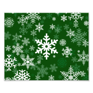 Happy Holidays Snowflakes Green for Everyone Photographic Print