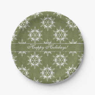 Happy Holidays Snowflakes on Green Paper Plate