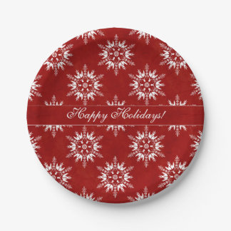 Happy Holidays Snowflakes on Red 7 Inch Paper Plate