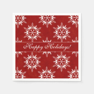 Happy Holidays Snowflakes on Red Paper Serviettes